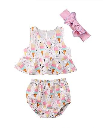 Amazon Com Yannzi Newborn Baby Girl Ice Cream Summer Outfit Vest