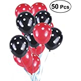 NUOLUX Ballons en latex noir et rouge à points blancs, 50 pcs