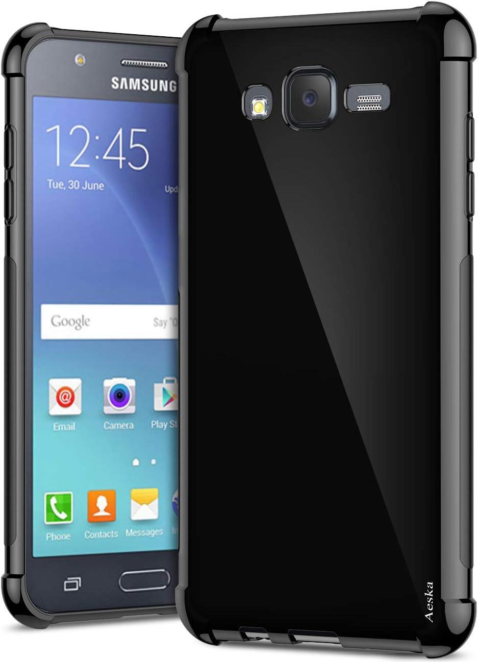Galaxy J7 Case, Aeska Ultra [Slim Thin] Flexible TPU Gel Rubber [Shockproof] [Corner Cushion] Shock Resistant Slim TPU Soft Skin Silicone Protective Bumper Case Cover for Samsung Galaxy J7 2015(Black)