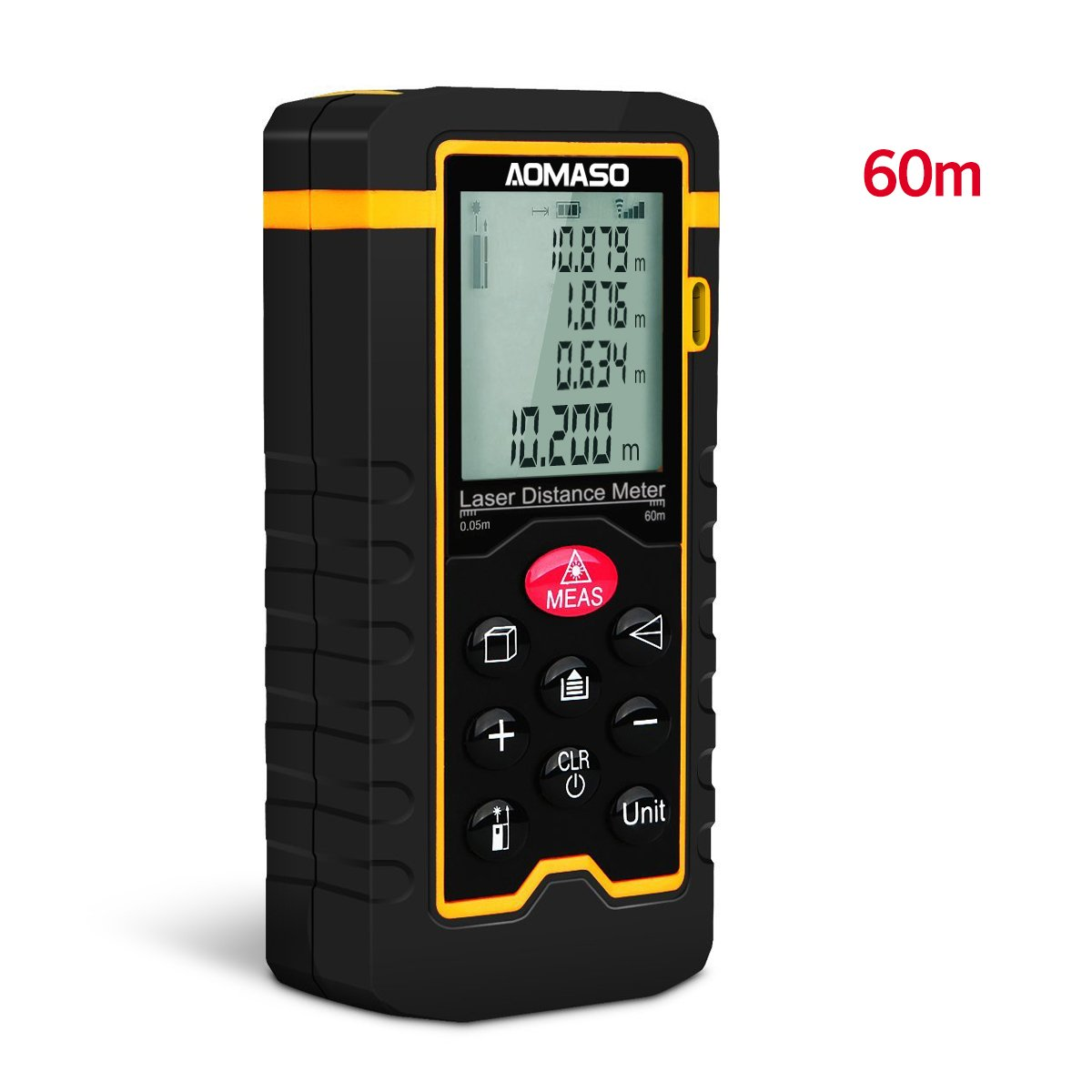 Laser Distance Measurement, Aomaso 60Meter  High Precision Handheld Digital Laser Tape Measure with LCD Backbit,Water Protection IP54 for Volume/Area/Pythagorean Continuous Measurement Class II