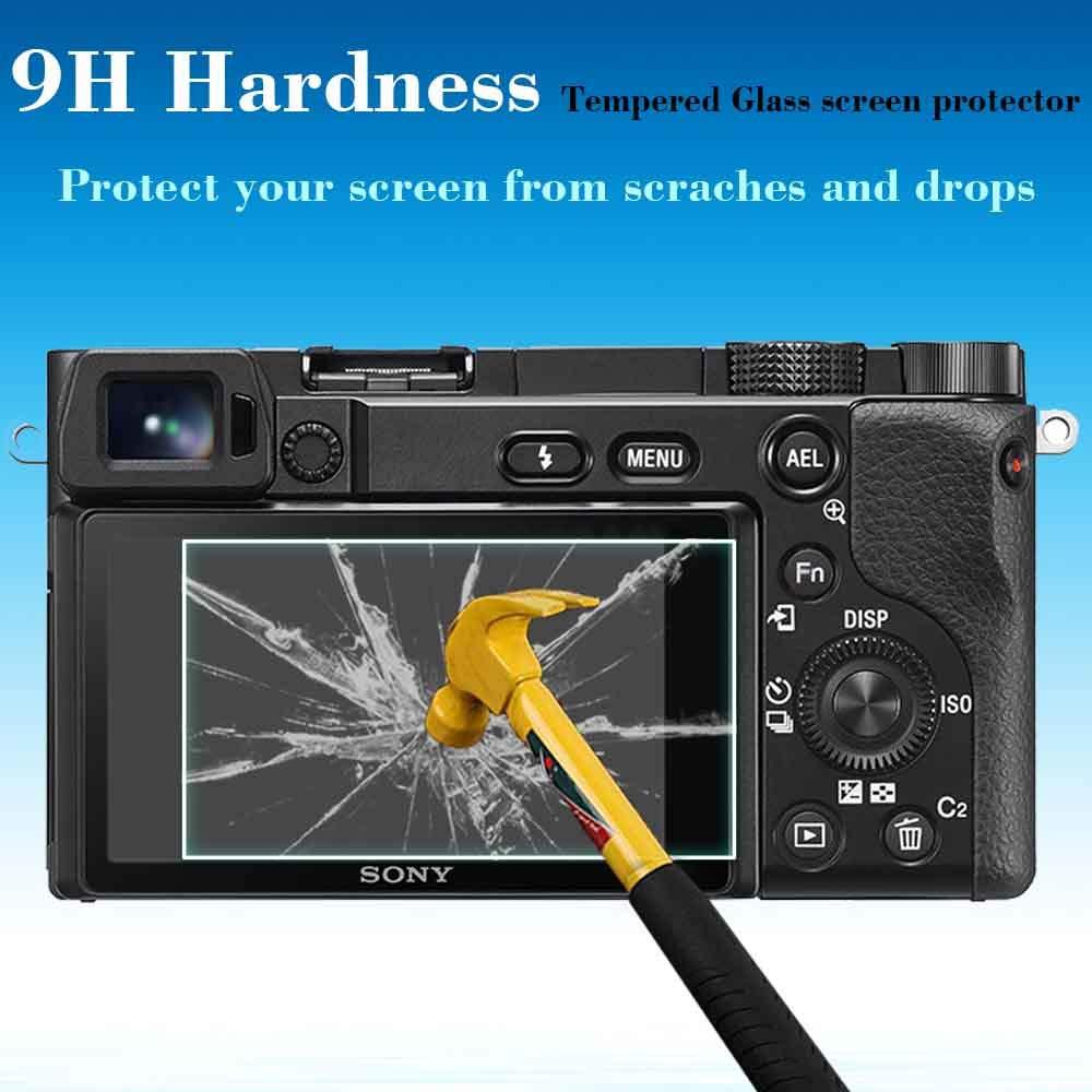 3 Pack Anti-Scrach-Huella-Burbuja-Polvo ULBTER Pantalla A6600 Protector appliable para Sony Alpha A6600 c/ámara y la Tapa de la Zapata 9H 0.3mm Dureza Vidrio Templado Flim