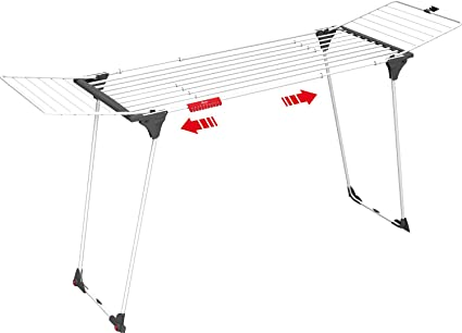 Vileda Infinity - Tendedero Extensible de acero, espacio total de tendido de 27 metros, soporte para artículos pequeños, dimensiones abierto 186 - 257 ...