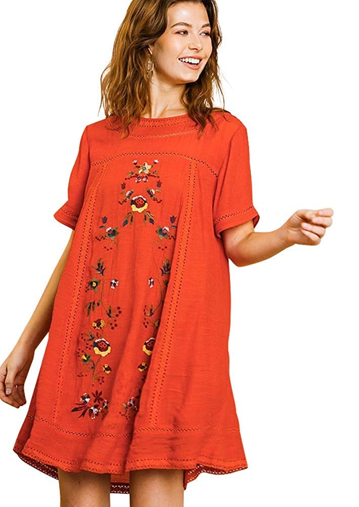 Umgee Women's Bohemian Embroidered Short Sleeve Dress or Tunic (Small, Sunset) by Umgee
