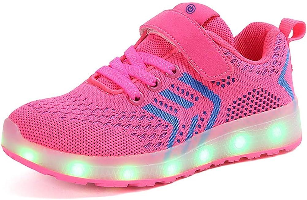 Unisex Niños LED Iluminar 7 Colores con Carga USB Aire Libre Deporte Zapatos para Niños Niñas