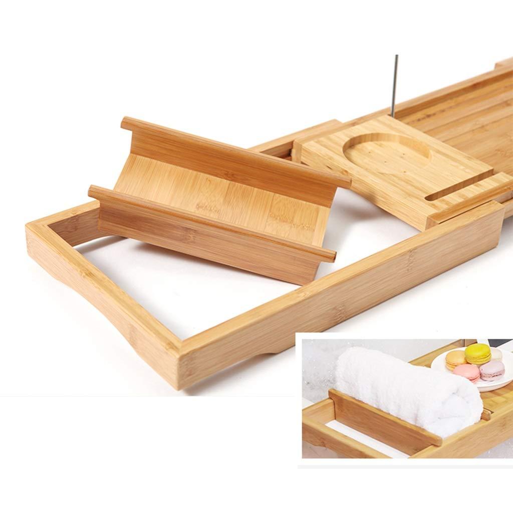 Bathtub Trays bath caddy bath tray bath board Bamboo bathtub frame bathroom bath telescopic long bathroom multi-function rack(bathtub pillow) ( Color : Natural+White , Size : 74.523+3223cm ) by ZhaoLiRuShop (Image #3)
