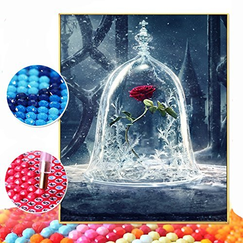 5D DIY Diamond Painting Full Round Drill Rose Rhinestone Embroidery for Wall Decoration By Number Kits Cross Stitch DIY Craft 12X16 inches