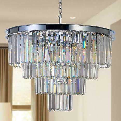 Modern K9 Crystal 2-Level Chandelier Flush Mount LED Ceiling Light Dia 23.6/'/'