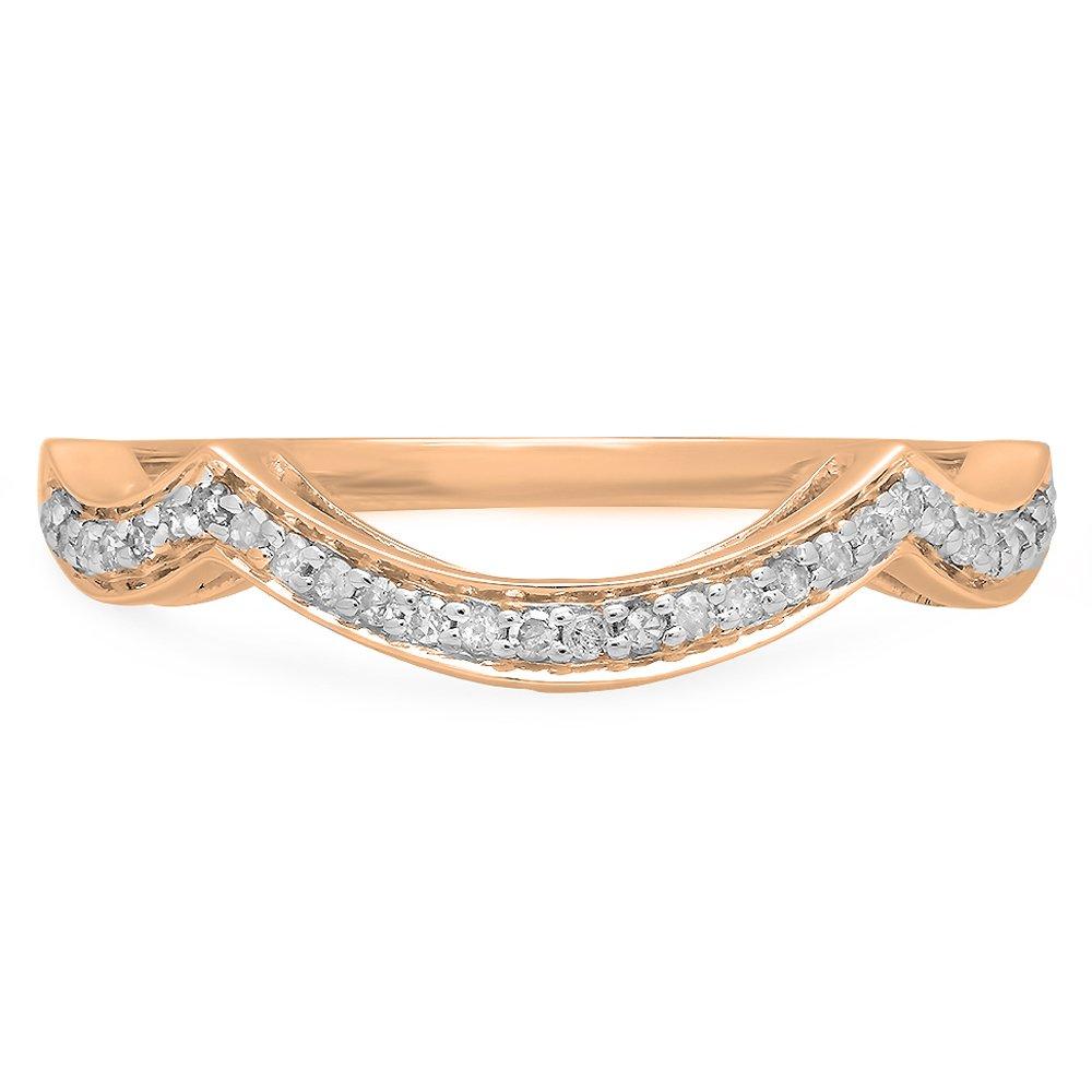 Dazzlingrock Collection 0.10 Carat (ctw) 10K White Diamond Ladies Wedding Contour Guard Ring 1/10 CT, Rose Gold, Size 7 by Dazzlingrock Collection (Image #3)