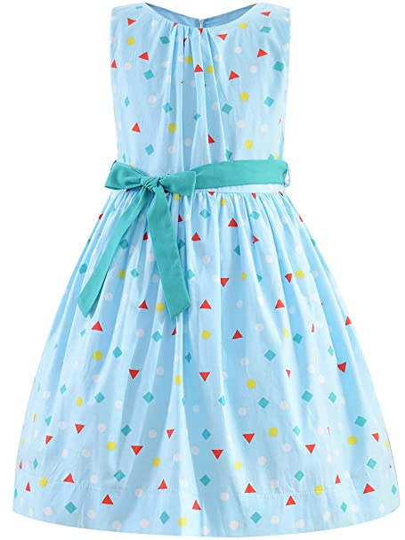 Foxjoy Vintage Floral Sleeveless Casual Dress for Girls Back to School  Dresses