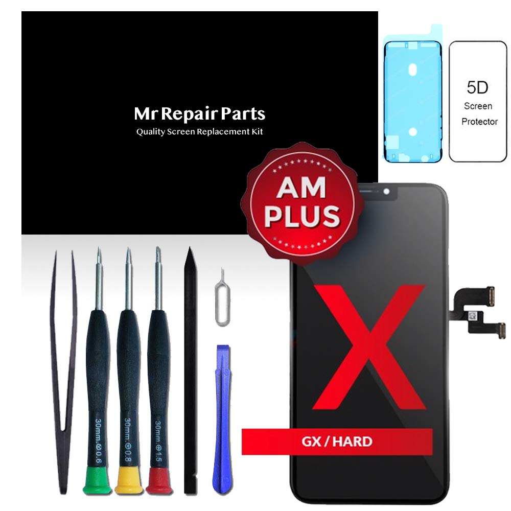 Mr Repair Parts Premium Quality iPhone X 5.8'' OLED 3D Touch Display Screen Digitizer Assembly Replacement + Repair Tools + 5D Tempered Glass Screen Protector + Waterproof Frame Adhesive Sticker by Mr Repair Parts