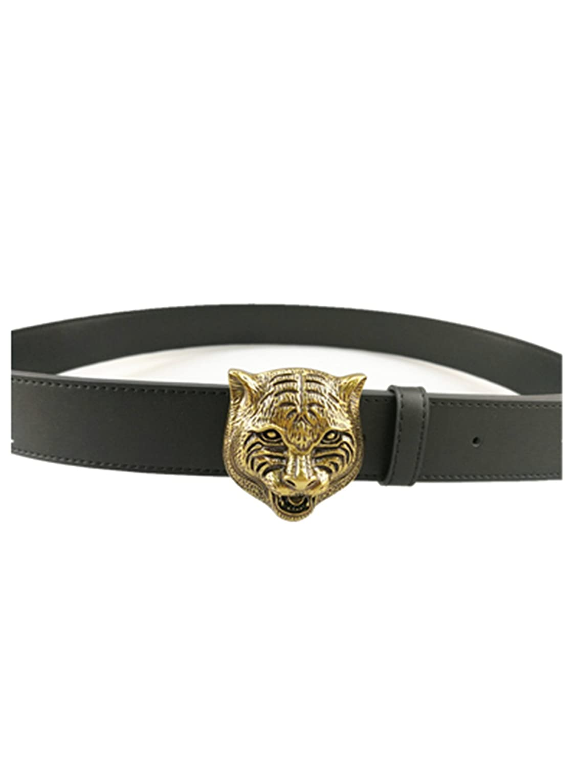 Mens fashion casual tiger buckle leather belt