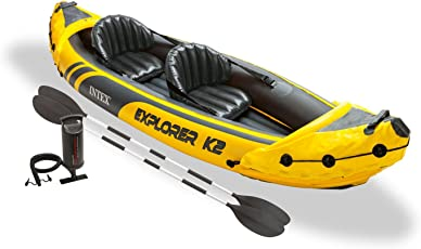 Intex Explorer K2 Yellow 2 Person Inflatable Kayak With Aluminum Oars Amp
