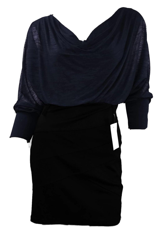 #909 Designer Kleid Damen kurz Chiffon langarm Fledermaus Euikleid 34 36 38 Onesize