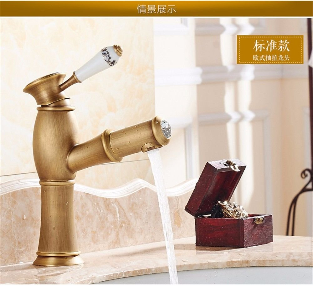 Lalaky Taps Faucet Kitchen Mixer Sink Waterfall Bathroom Mixer Basin Mixer Tap for Kitchen Bathroom and Washroom Pull-Type Copper redation Hot and Cold Expansion