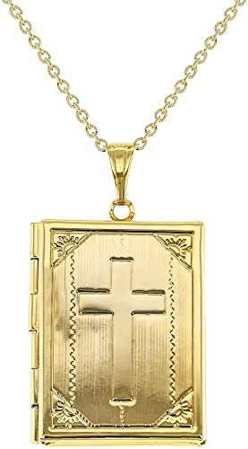 Silver-Plated Scroll Locket Pendant Necklace with Lords Prayer