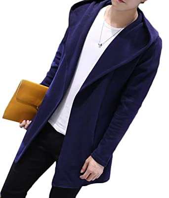 cafe9f6a1f Pivaconis Mens Pockets Hooded Front Open Knitted Long Cardigan Sweater  Jacket Navy Blue XL