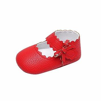 c51dafa6f8391f Kolylong Baby Toddler Newborn Girls Cute Shoes Soft Sole Wave Bowknot Shoes  First Walk Shoes (