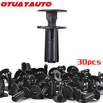 OTUAYAUTO 30PCS Mud Flap Fasteners Clips - 7mm Trim Bumper Retainers for Toyota 4Runner, Camry, Tundra 2002-On - Push Type Plastic Rivet Clips Replace OEM: 90467-07188: Automotive