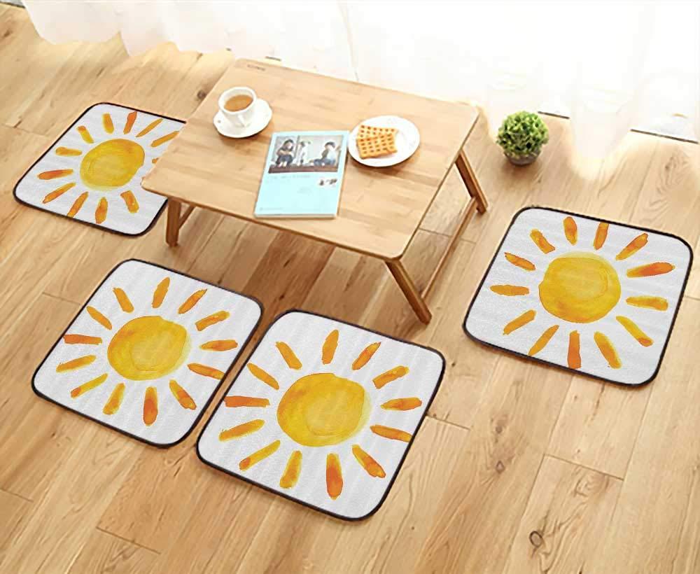 フィレットチェアクッション 太陽 子供部屋 水彩絵筆 絵画スタイル 子供の遊び部屋 椅子用 幅13.5×長さ13.5/4点セット W23.5