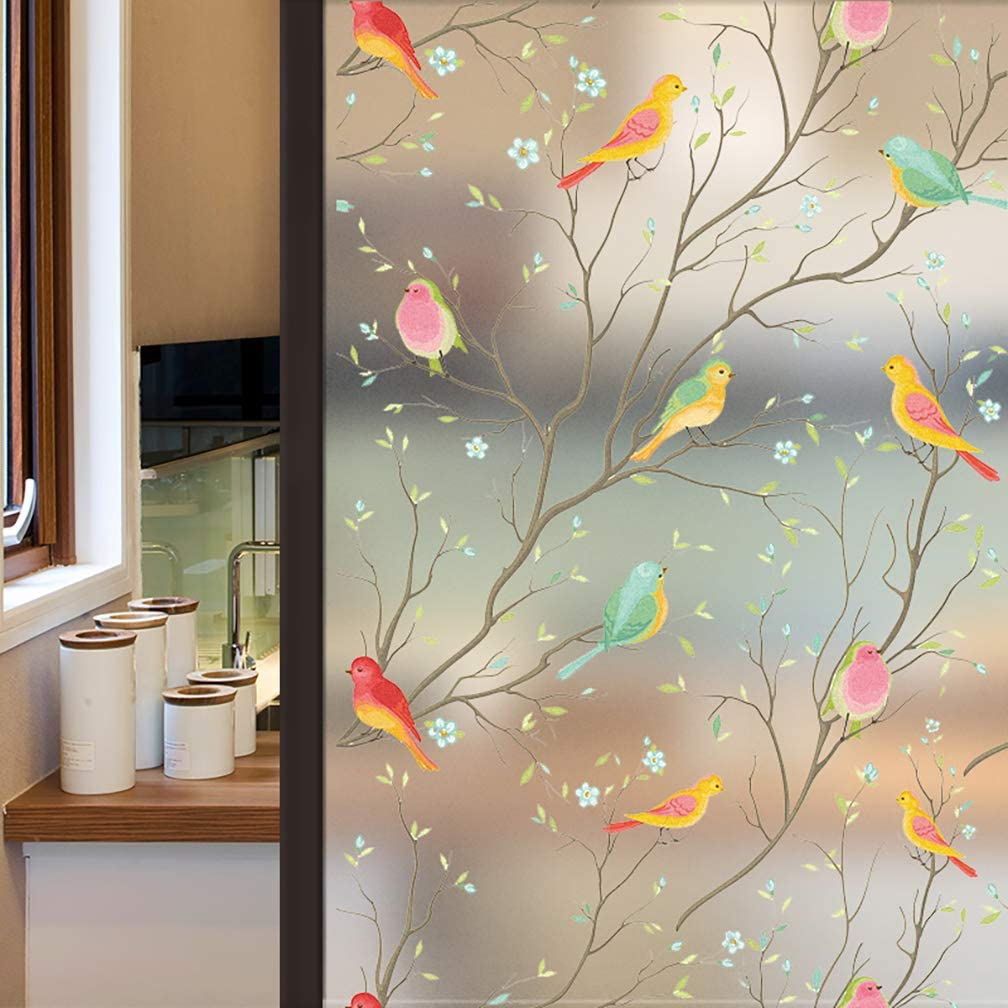 Coavas Window Privacy Film Non-Adhesive Frosted Bird Window Film Decorative Glass Film Static Cling Film Bird Window Stickers for Kids Home Office 17.7In. by 78.7In. (45 x 200Cm) …