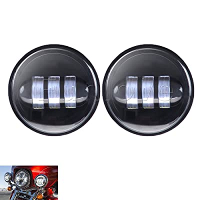 Funlove 4.5 Inch 30W Cree LED Fog Lights Daymaker Passing Auxiliary Lamp for Harley Davidson Motorcycle: Automotive
