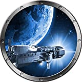 "12"" Porthole Outer Space Ship Window View SPACESHIP ORBIT PLANET #1 SILVER Wall Sticker Kids Decal Baby Room Home Art Décor Graphic SMALL"