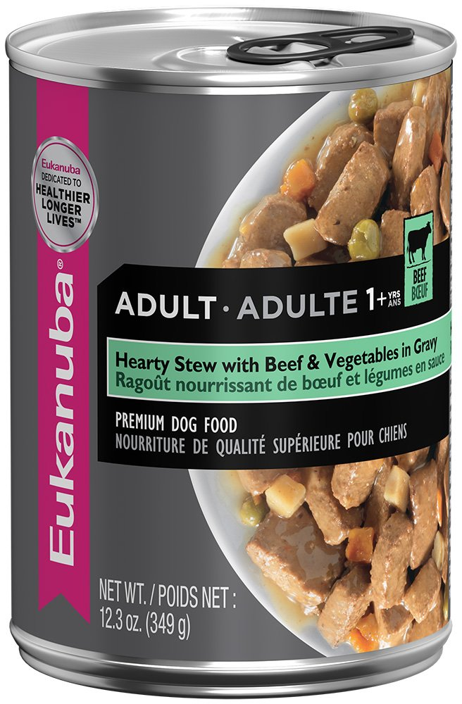 EUKANUBA Adult Hearty Stew with Beef and Vegetables in Gravy Canned Dog Food 12.3 Ounces (Pack of 12)
