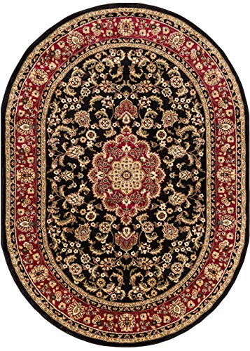 Well Woven Barclay Medallion Kashan Black Traditional Area Rug 5'3