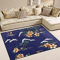 LORVIES Hawaiian Islands Area Rug Carpet Non-Slip Floor Mat Doormats for Living Room Bedroom 63 x 48 inches