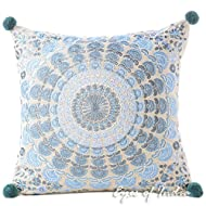"""Eyes of India 16"""" Blue Silver Decorative Mandala Couch Cushion Pillow Throw Cover Indian Boho Colorful Bohemian"""