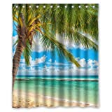 Summer Beach Blue Sea Palm Tree Waterproof Polyester Fabric Bathroom Shower Curtain with 12 Hooks 60'(w) x 72'(h)- Bathroom Decor