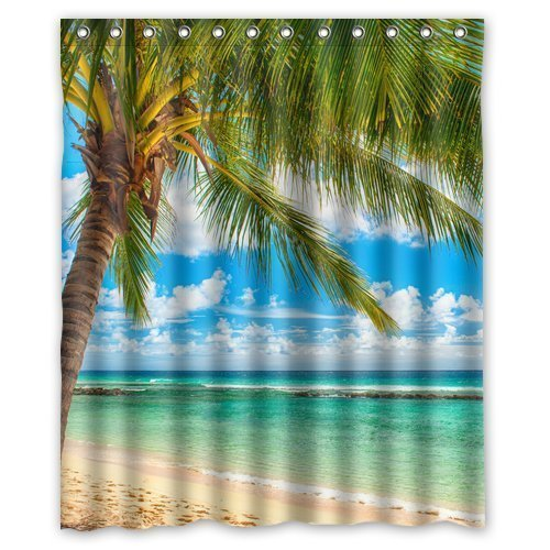 Summer-Beach-Blue-Sea-Palm-Tree-Waterproof-Polyester-Fabric-Bathroom-Shower-Curtain-with-12-Hooks-60w-x-72h-Bathroom-Decor