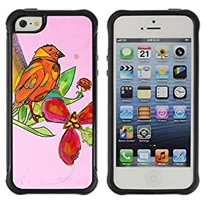 Hybrid Anti-Shock Defend Case for Apple iPhone 5 5S / Beautiful Abstract Bird & Floral