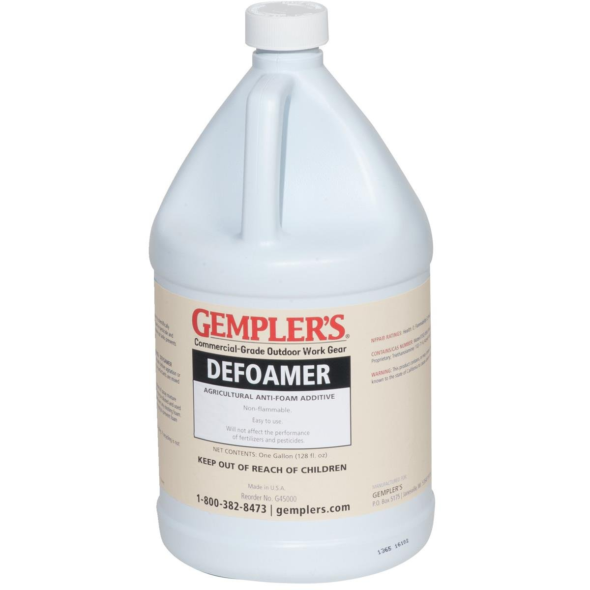 GEMPLER'S G45000 Pesticide and Fertilizer Defoamer Solution for Defoaming & Preventing Foam Build-up in Spray Tanks, 1 Gallon