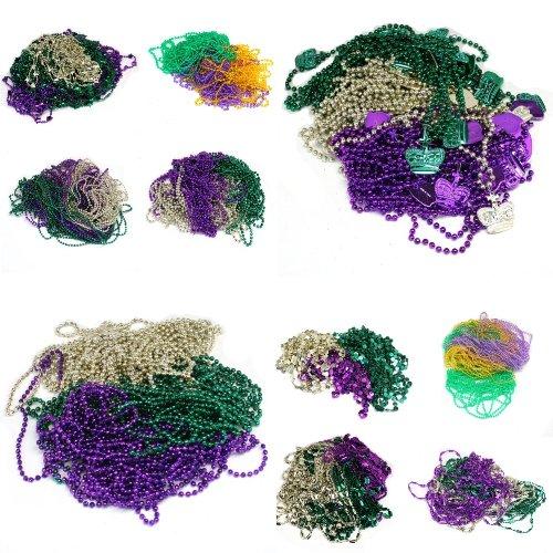 Fun Express - Mega Mardi Gras Bead Assortment (500pc) for Mardi Gras - Jewelry - Mardi Gras Beads - Misc Mardi Gras Beads - Mardi Gras - 500 Pieces