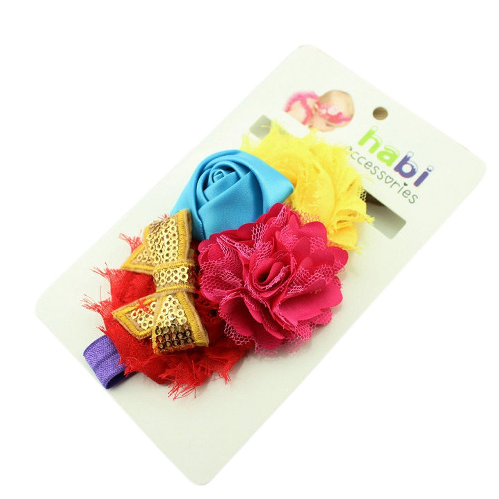 Newmao Toddler Girls Fashion Lace Flowers Elastic Headband Causal Hair Accessories (Yellow)