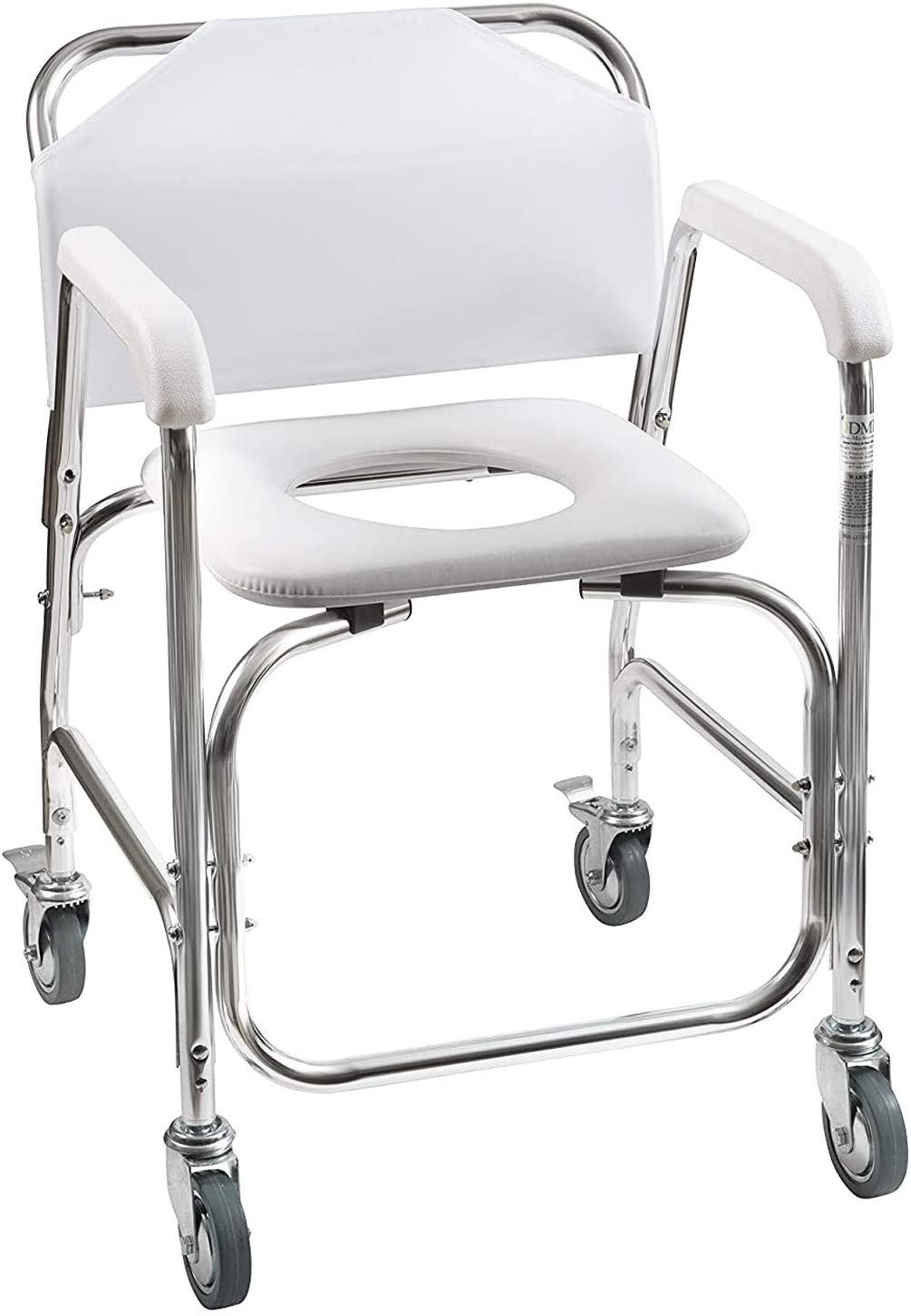DMI Rolling Shower and Commode Transport Chair with Wheels and Padded Seat  for Handicap, Elderly, Injured and Disabled, 10 lb Weight Capacity