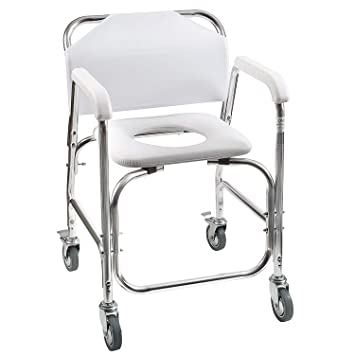 Magnificent Dmi Rolling Shower And Commode Transport Chair With Wheels And Padded Seat For Handicap Elderly Interior Design Ideas Tzicisoteloinfo