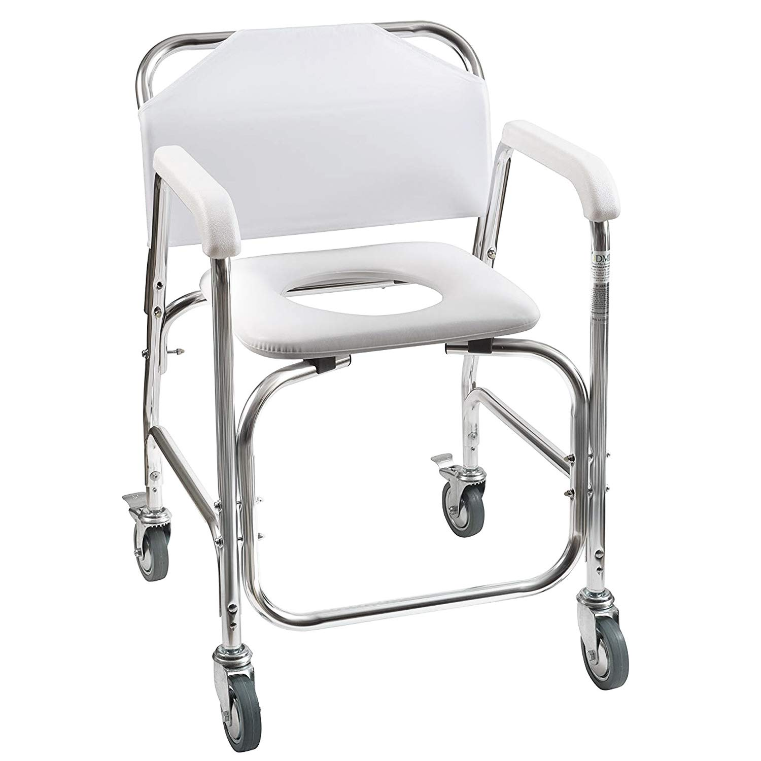 DMI Shower Transport Chair, Commode Chair for Toilet, Shower Chair with Wheels, Rolling Shower Chair with Padded Toilet Seat for Handicap and Seniors, White, 250 lbs Weight Capacity
