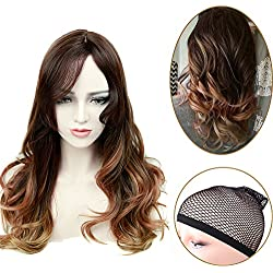 Lady Miranda Brown to Light brown with Bangs Middle Part High Density Heat Resistant Synthetic Hair Weave Full Wigs For Women (T-Brown)