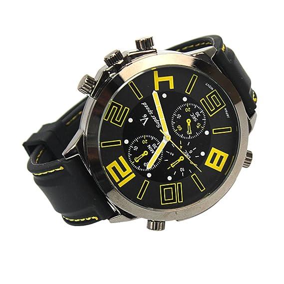 Pinzhi Hombre Relojes cuarzo Big Round Face analógico Sport Reloj de pulsera banda de silicona negro: Amazon.es: Relojes