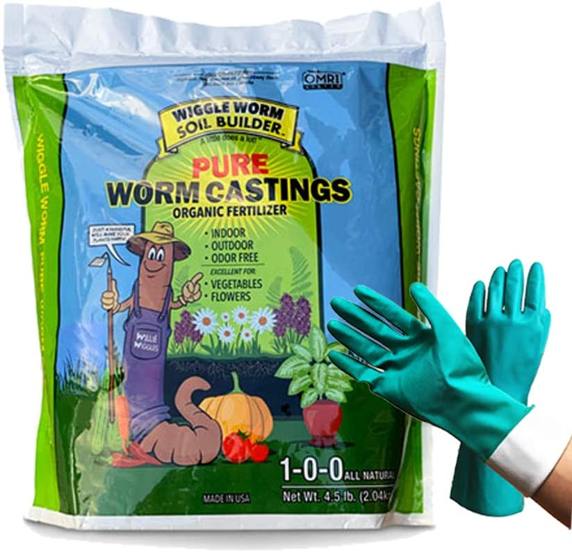 Unco Industries Worm Castings Organic Fertilizer, Wiggle Worm Soil Builder, 4.5-Pounds [Bundled with Pearsons Garden Gloves]