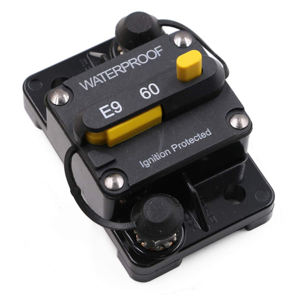 Surface-Mount Circuit Breakers with Manual Reset, 12V 24V DC, Waterproof (60A)