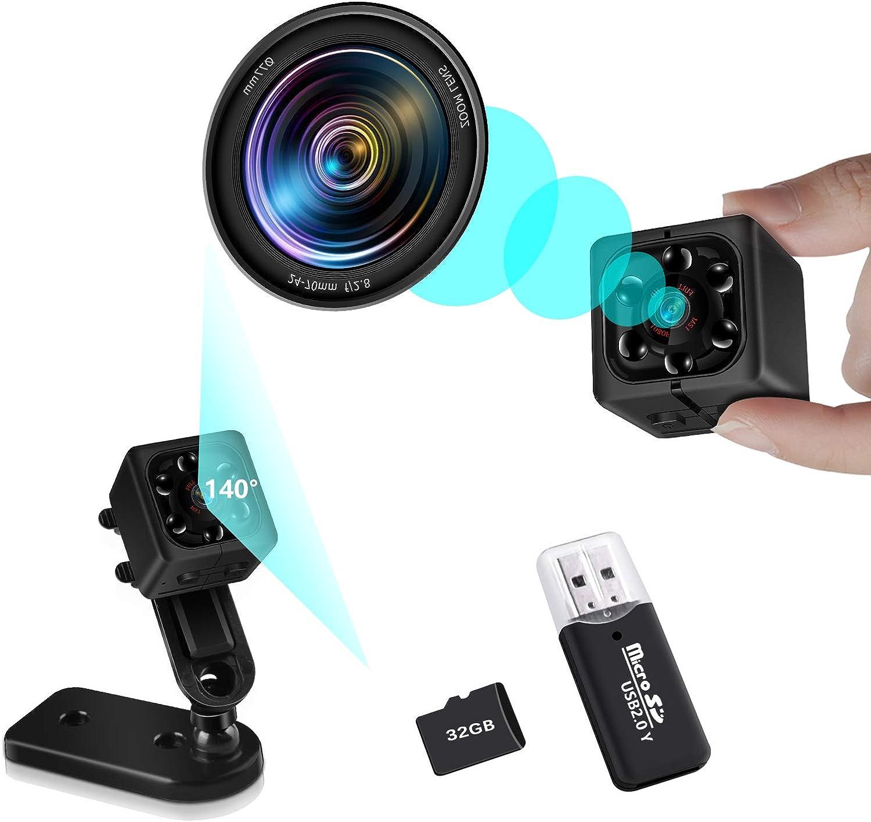 Mini Security Camera Body Cameras - Full HD 1080P, 32G SD Card Include, Home Security Nanny Small Portable Cam (Black)