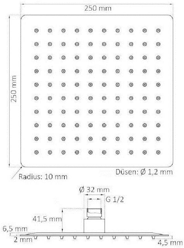 quadrato HENGMEI 25X25cm Soffione doccia a pioggia in Acciaio Inox Rettangolare Doccia