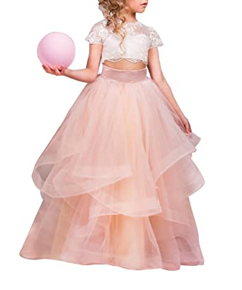 Amazon.com: Graceprom Girls Two Pieces White Tulle Flower Girls ...