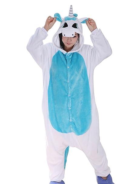 Happy Cherry - Traje de Disfraz Unicornio Cosplay Halloween Pijama Adulto de Animal con Capucha para