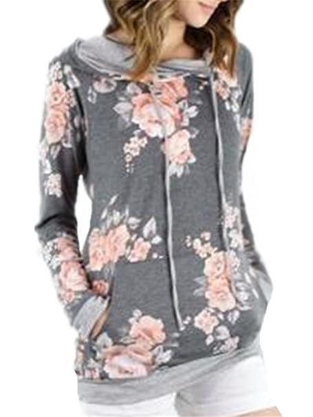 Tayaho Sudaderas Mujeres Camiseta Con Manga Larga Camisa Sudadera Flores Blusa Impresa Pullover Hipster Sudadera Con