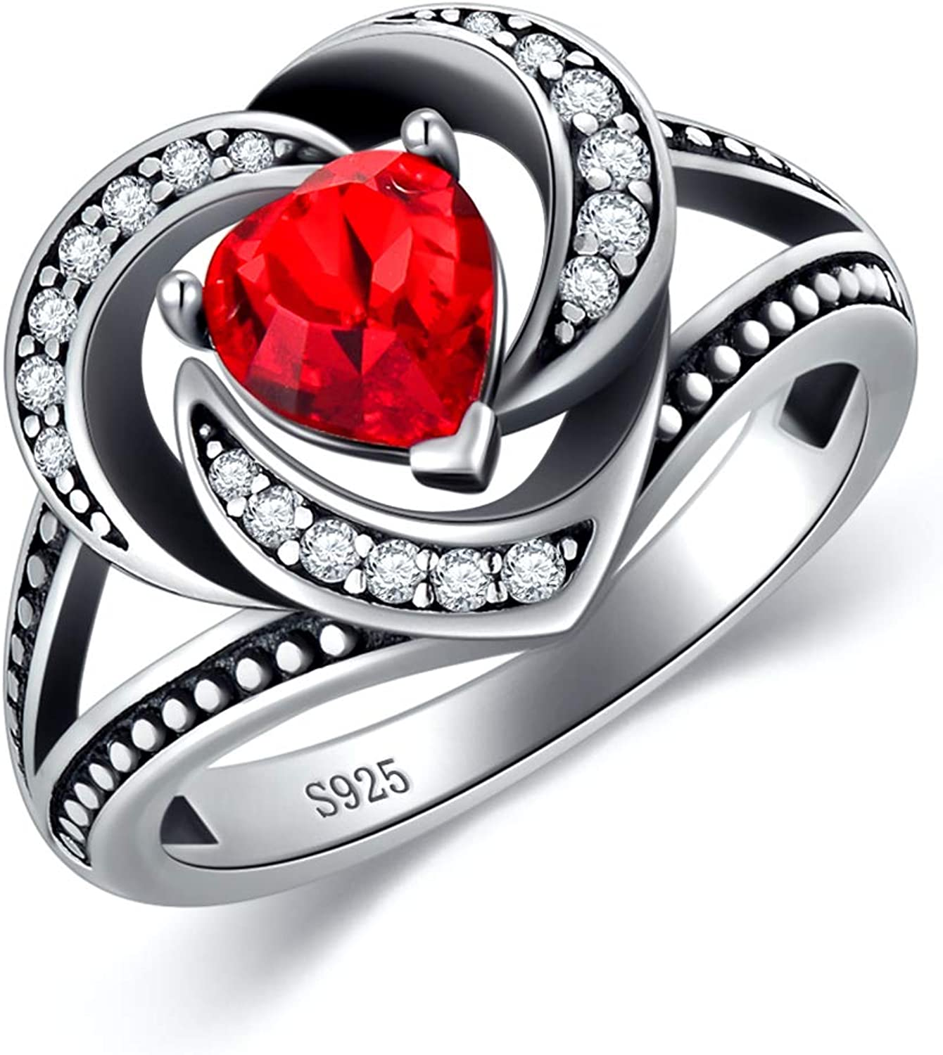 AOBOCO 925 Sterling Silver Vintage Style Halo Heart Rings for Women with Simulated Ruby Red Swarovski Crystal, Size 6-8