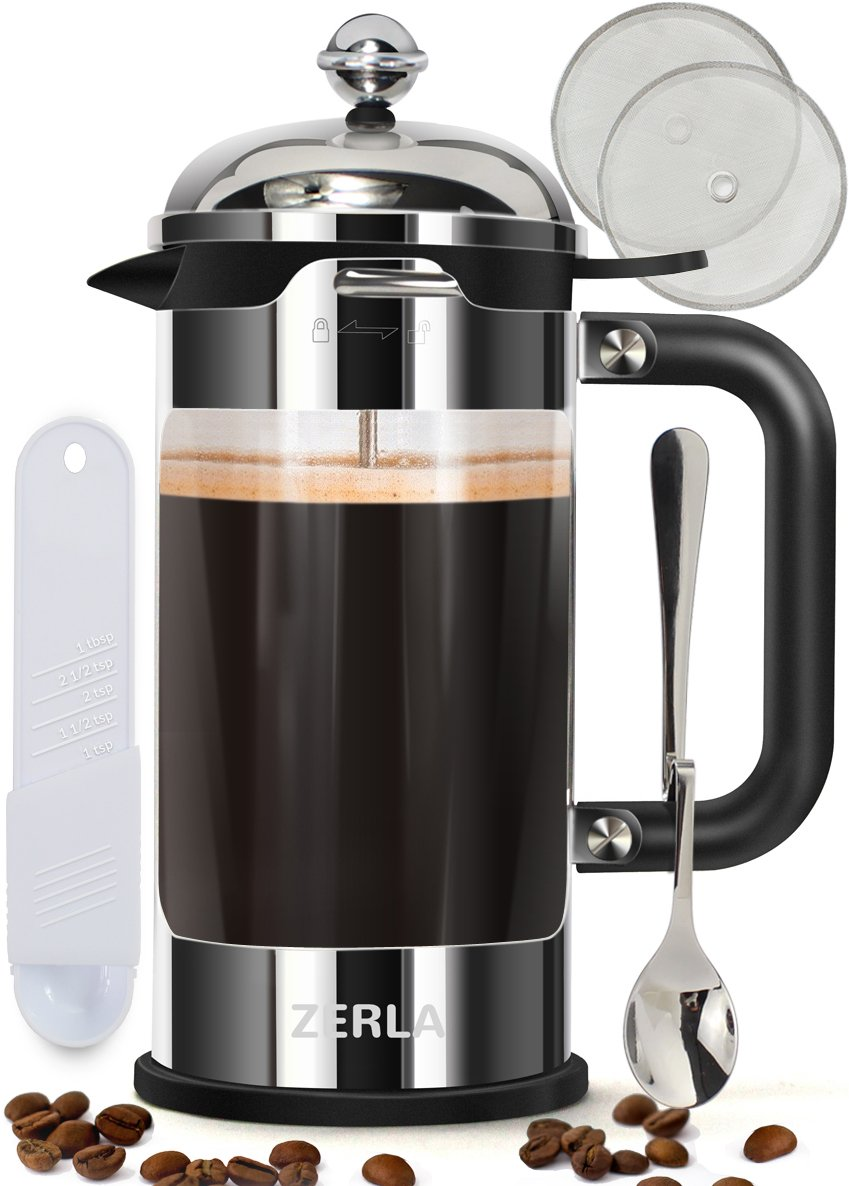 French Coffee Press 8 Cup (1 liter, 34 oz) - Made with Heat-Resistant Borosilicate Glass and Premium Stainless Steel - by ZERLA